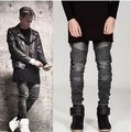 2016 Mens Ripped Motorista Denim Jeans de Marca Famosa Diseñador Flaco Ripped Motocicleta Jean Mens Basculador botín Jeans Apenada