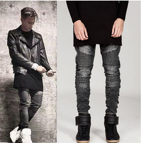 New Dropshipping Mens Ripped Biker Denim Jeans Famous Brand Designer Skinny Ripped Motorcycle Jean Mens Distressed swag Jeans
