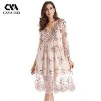 CAYA BOX Plus Size Sequined Women Dress Midi Floral Mesh Dresses Rose Gold V Neck Long