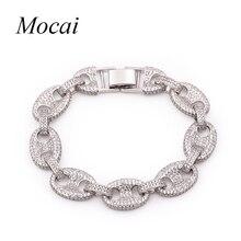 Mocai Brand Chunky Punk Silver Bracelets Bangles for Women Full AAA Cubic Zircon Chain Link Bracelet Party Jewelry  ZK20