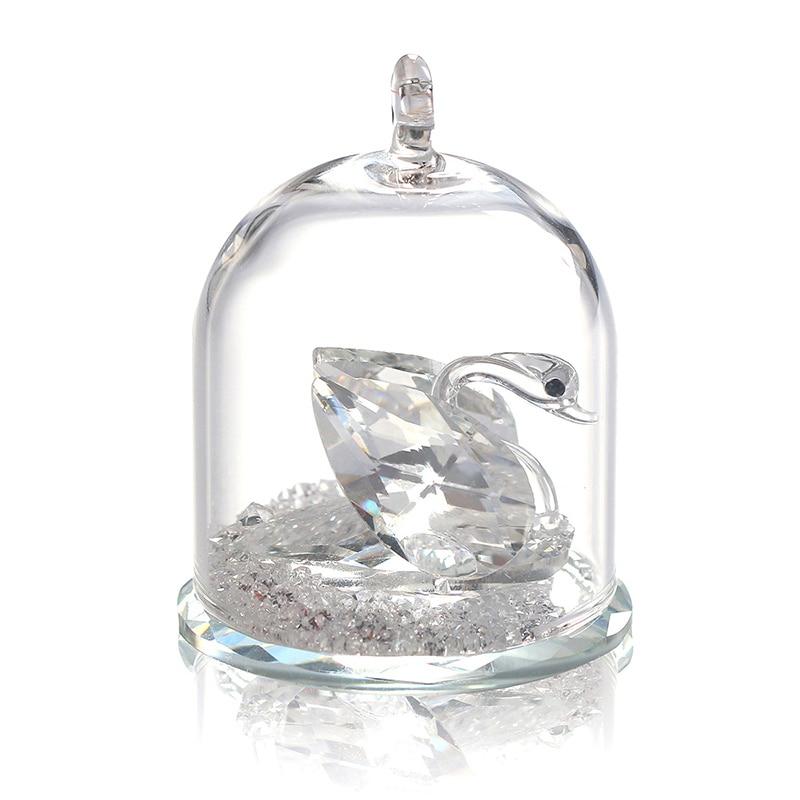 H&D átlátszó kristály Swan figurás kupola asztal központi - Lakberendezés