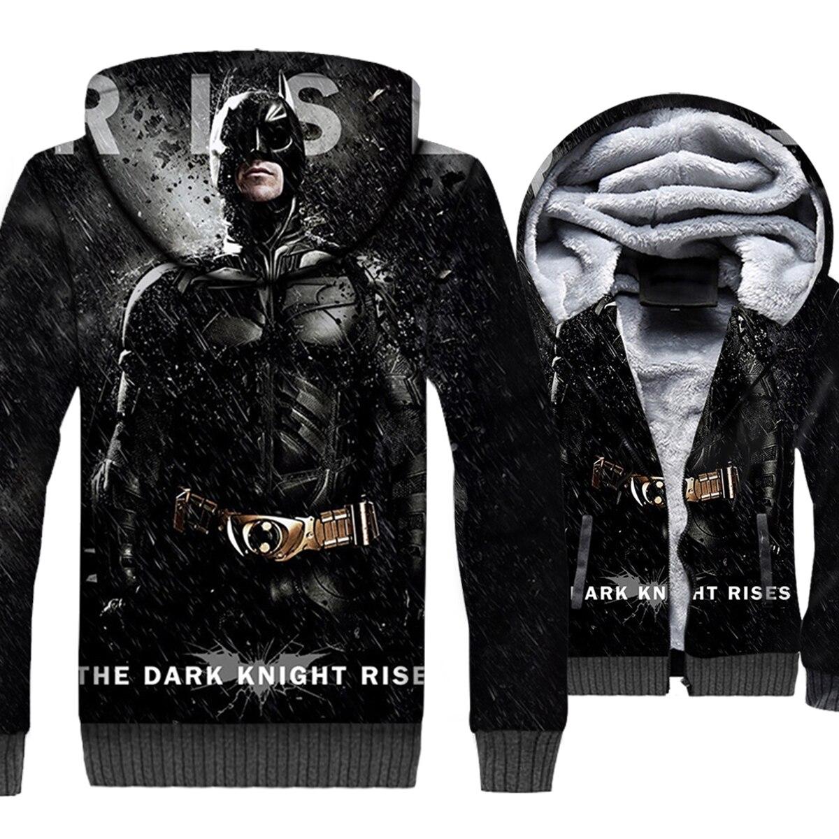 Batman & Chat Femmes Punk Style 3D Hoodies 2018 Hiver Le Dark Knight Rises Hommes Chaud Sweat Zipper Vestes Casual épais Manteaux