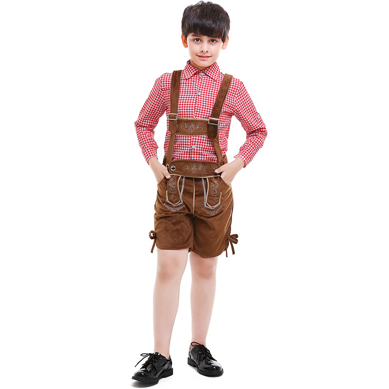 Boys Oktoberfest Cotton Cashmere Leather Lederhosen Costume For Children Party Cosplay Waiter Farmer Game Costumes Size S-XXL