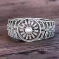Jóias de luxo Pulseira de Pérolas 925 Sterling Silver Pérola Relógio Pulseira para Lady Moda Completa CZ Zircon Bracelet & Bangle Oco