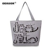Excelsior 2017 кошки мультфильм печатных пляж молнию сумки bolsa feminina холст tote сумки мешок основной femme de marque
