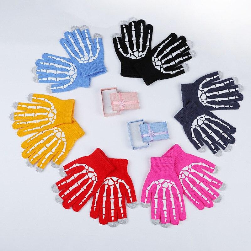 Men Women Fashion Knit Novelty Skull Pattern Mittens Winter Warm Touch Phone Screen Non-slip Full Finger Glove Guantes Mujer B21