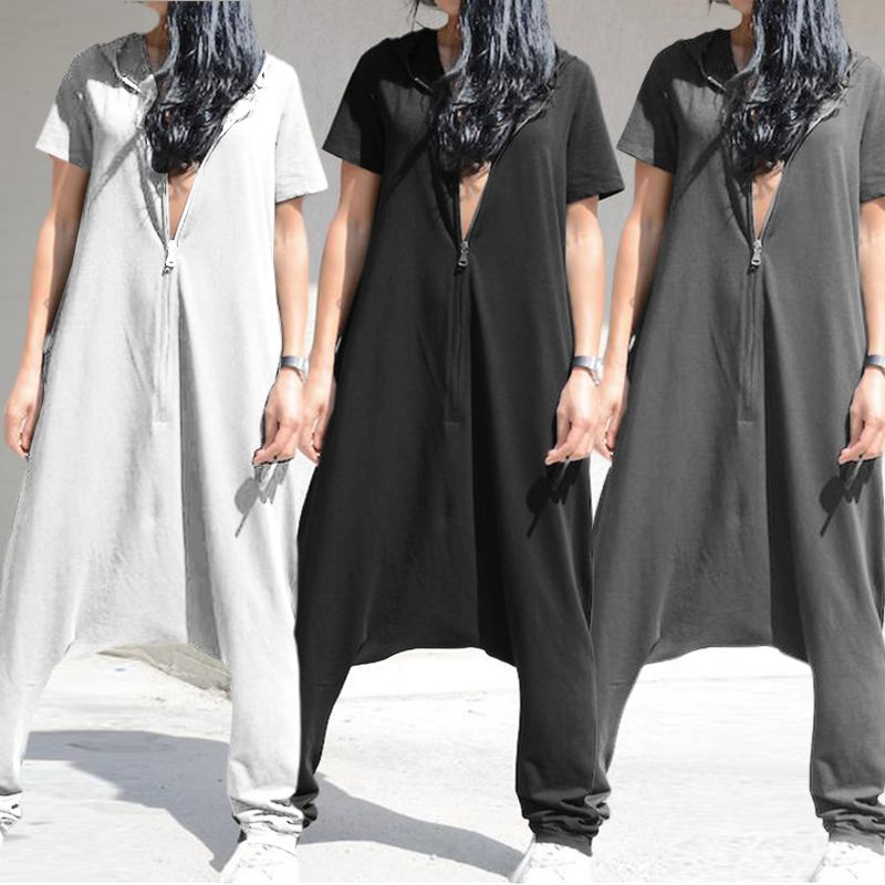 Vintage Women's   Jumpsuits   Plus Size Overalls 2019 Celmia Short Sleeve Hoodies Playsuits Casual Drop-Crotch Zipper Long Rompers