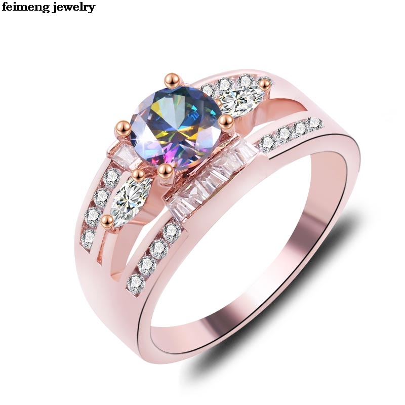 Wholesale Fashion Noble Cubic Double row zircon Paved Engagement Rings Sets Rose Gold Color Crystal Wedding Jewelry For Women