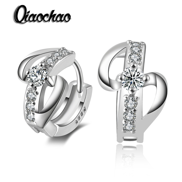 White Gold Plated Fashion Wedding Hoop Earring Jewelry Earings Engagement Earrings for Women Best Gift Free Shipping  E246