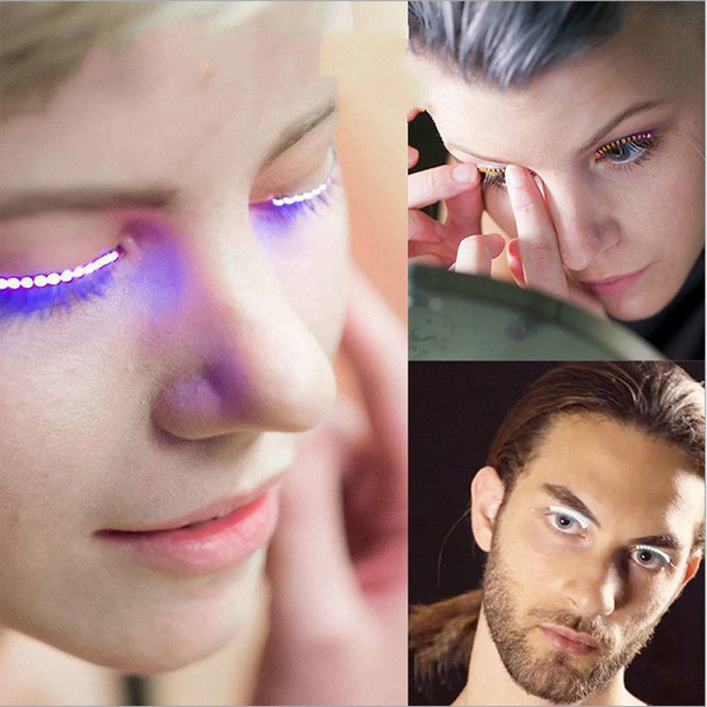 1 Pair <font><b>LED</b></font> Luminous Makeup False Eyelashes 2 Colors Strips Light Waterproof Fake <font><b>lashes</b></font> Funny Halloween Makeup Party Supplies