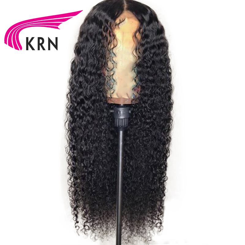 KRN Kinky Curly Brazilian Lace Front Human Hair Wigs With Baby Hair Bleached Knots Remy 13X3