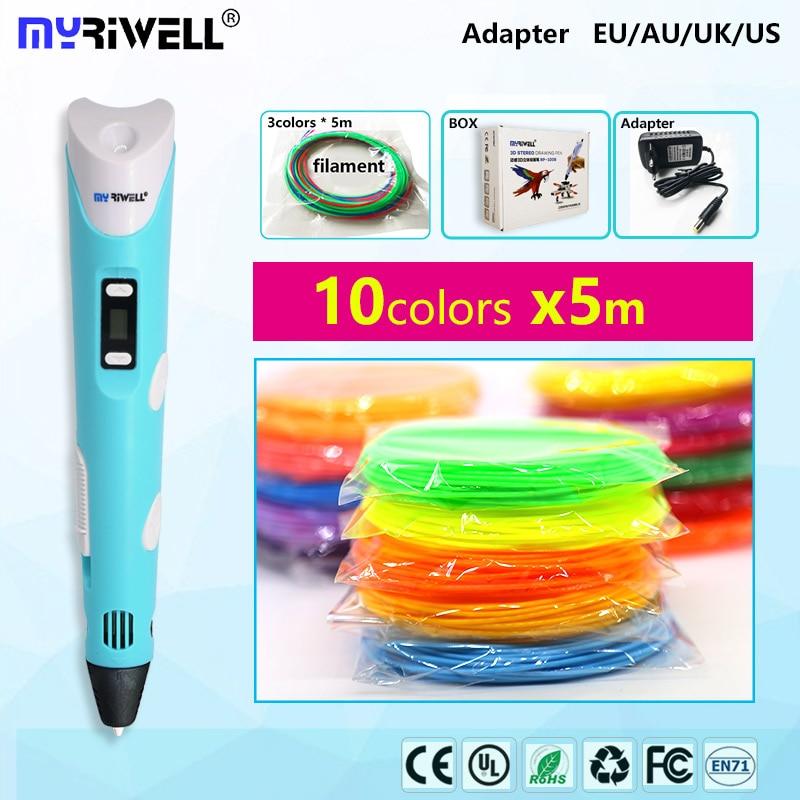 Myriwell 3d Ручка 2,0 с светодиодный дисплей 1,75 мм abs накаливания pla 3d ручка 3 d ручка 3d Ручка Smart детский наряд для дня Рождения подарок игрушки 3d пла...
