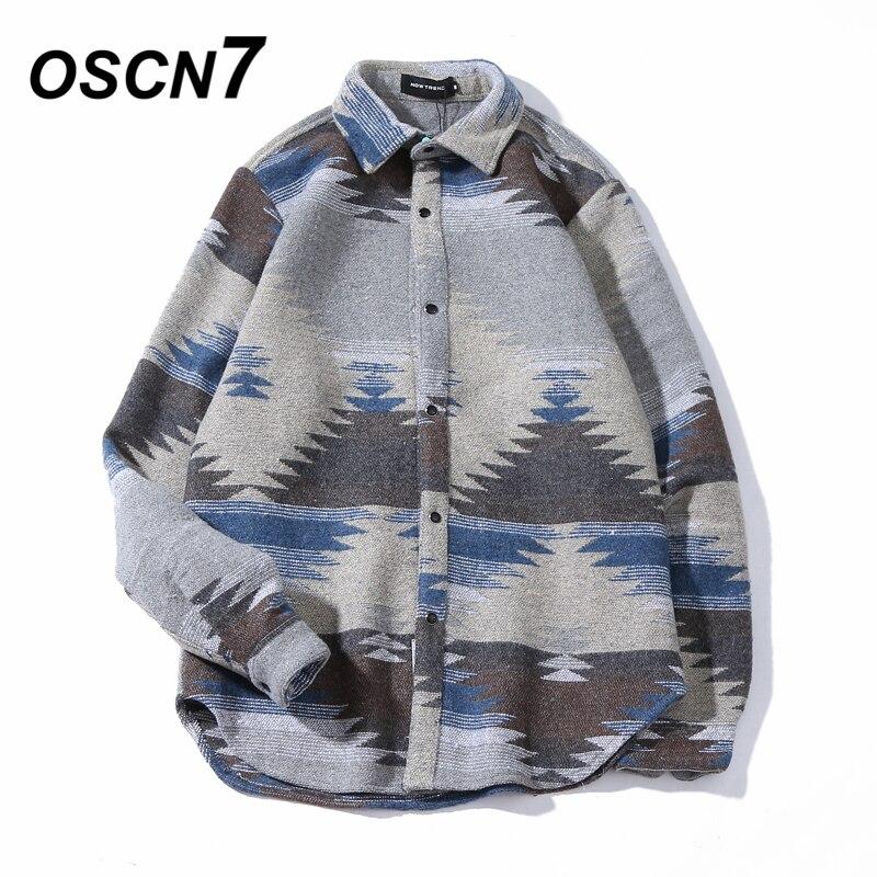 OSCN7 Hip Hop Warme Shirts für Männer Vintage Woll Freizeit Muster Shirt Männer Slim Fit Streetwear-kleid Chemise Homme