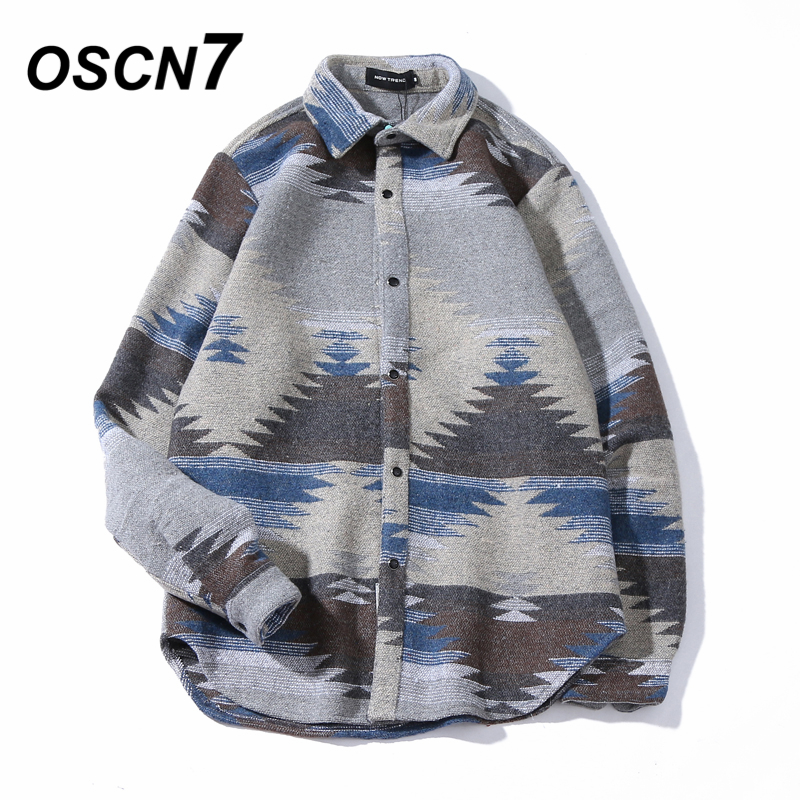 OSCN7 Hip Hop caliente camisas para hombres de lana Vintage de ocio de hombres Camiseta Slim Fit Streetwear Chemise Homme