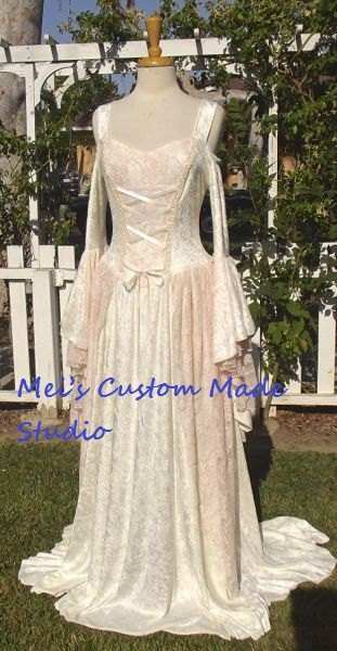 Custom made gwendolyn medieval velvet and lace cream pink for Velvet and lace wedding dresses