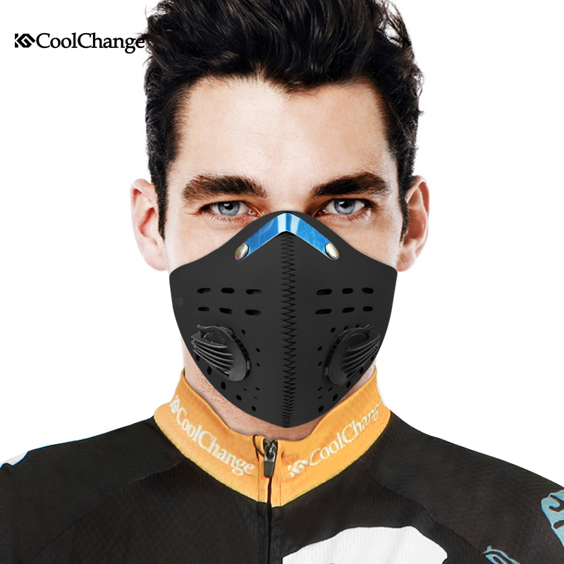 CoolChange Cycling Mask Activated Carbon Half Face Sports Bicycle Bike Training Mask Dust Mask Filter Mascaras Ciclismo coolchange 20006 cycling thicken fleeces face mask hat scarf black