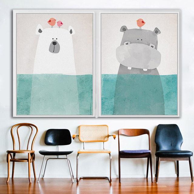 Funny Bear Hippo Frameless Canvas Picture Hipster Animal Wall Art ...