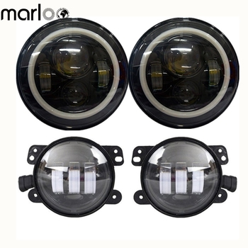 """Marloo Wrangler 7 In Round LED Headlights White Halo DRL Amber Turn Signal Halo W/ 4"""" Fog Lights For 2007-2018 Jeep JK"""