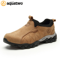 AQUA TWO Outdoor Camping Men Sports Hiking Shoes Genuine Leather Walking Sneakers Durable Waterproof Breathable Shoes