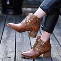 Artmu/оригинальные винтажные ботильоны на толстом каблуке с заклепками женские ботинки из натуральной кожи с острым носком Новые осенне зимн