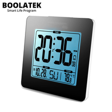 On sale BOOLATEK Thermometer Blue Backlight LCD Table Calendar Time Watch Desk Digital Snooze Alarm Clock Temperature Sensor Meter