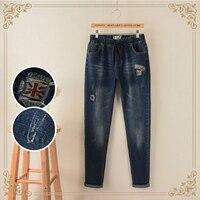 2018 Apressado Cintura das calças de Brim da American Apparel Outono Novo Tamanho Grande mulheres Mm Fino Britânico Bandeira Patch Bordado Buracos Em Jeans calças