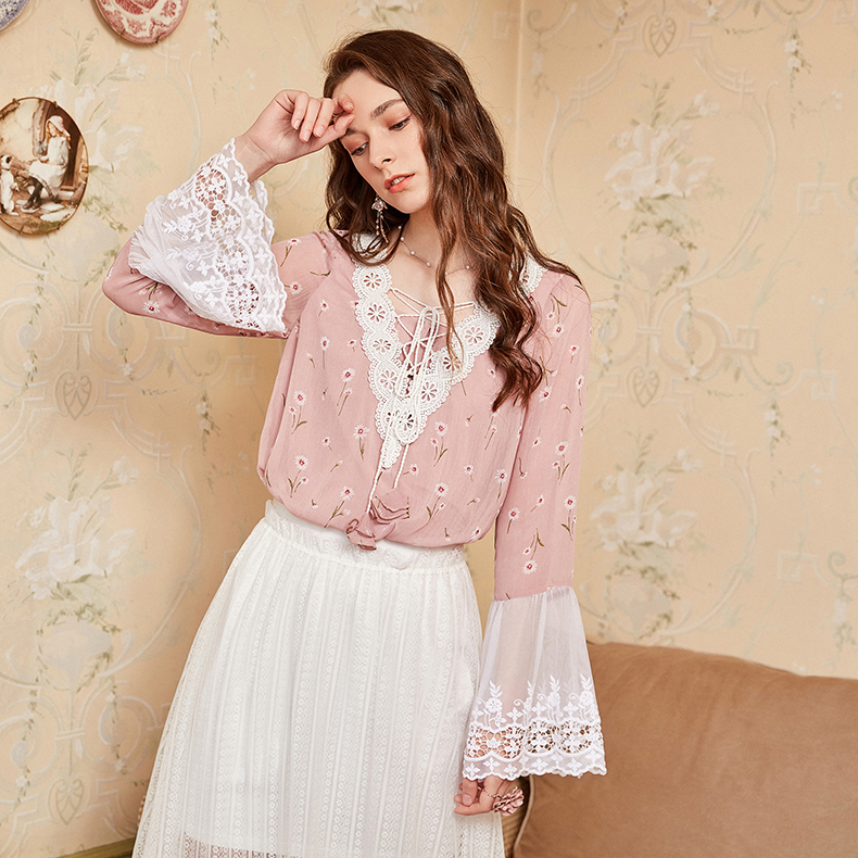 33c3deed01 ARTKA 2018 Autumn New Women Exquisite Lace Embroidery Full Flare Sleeve  Badange V-neck Floral Print Loose Blouse Shirt SA10180Q