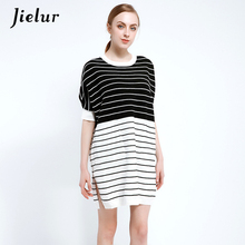 Jielur 2018 Europe Fashion Spring Dresses for Women Batwing Sleeve Loose Striped Knitted Dress Female Pocket Leisure Vestidos