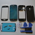 Универсальный Полный Кадр Крышка Корпуса Ближний Рамка Шасси Задняя Дверь чехол + Переднее Стекло Экрана для Samsung Galaxy S3 mini i8190