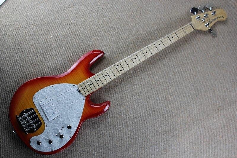 Micros actifs 9 V batterie cerise rouge rafale flamme érable musique homme Ernie balle pique Ray 4 cordes basse guitare 141111