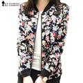 Плюс Размер 3XL Весна Осенняя Мода Бейсбол Цветочные Куртка Женщины Ditsy Печати Молния Varsity Пиджаки jaqueta femininas C55302