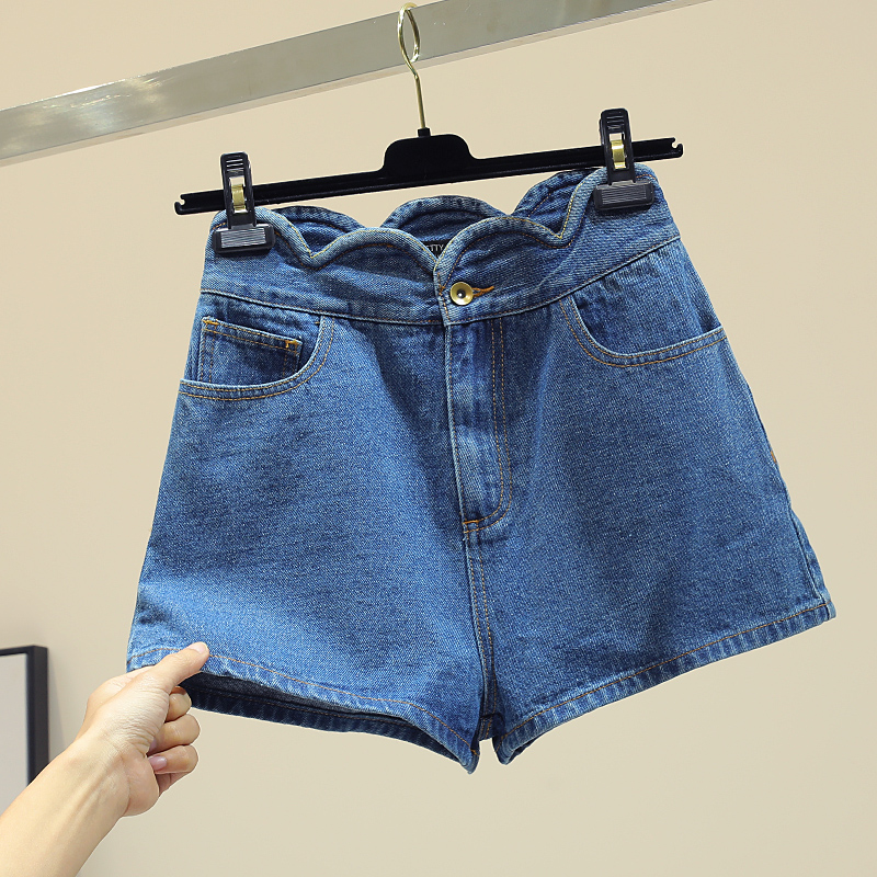 Tendance Tout Printemps De Ondulé Étudiants Bord allumette Base Large Pantalon Bleu Été Femmes Jambe Nouveau Shorts Haute Jeans Mince Short Taille fwYXXZOq