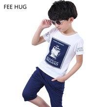 2016 Summer Kids Clothes Set Children Short Sleeve Clothing Suit For Boys Cotton Boy Letter T shirt Pants Clothes Sport Suits