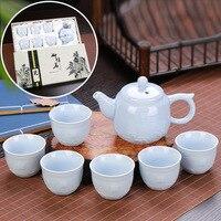 Porzellan kung fu tee set geprägt drachen keramik tee sets 1 teekanne + 6 tee tasse  chinesischen tee set mit geschenk box|tea cup|tea setcup cups -