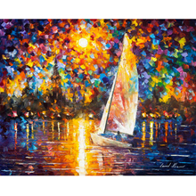 Hand Painted Landscape Abstract Sailing To The Shore Palette Knife Modern Oil Painting Canvas Art Living Room Artwork Fine Art