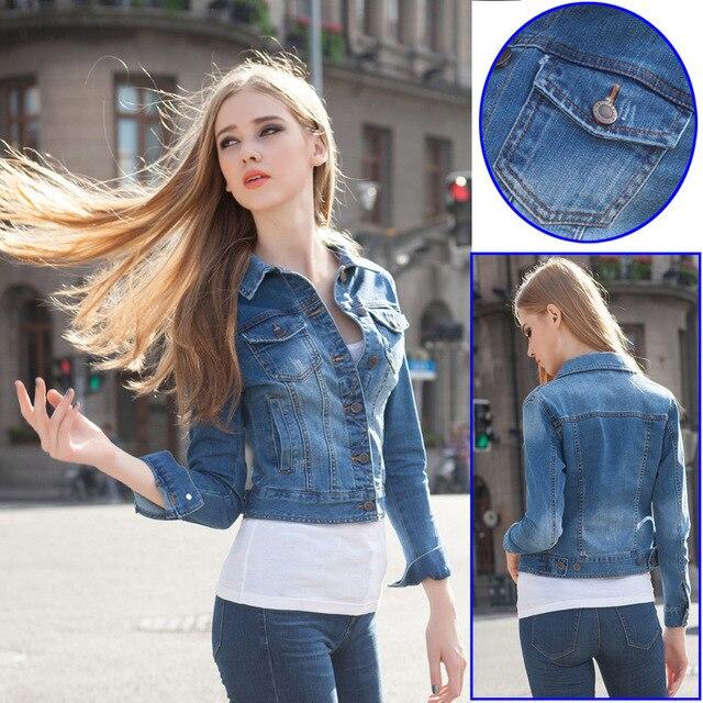 ae56eda5f 2015 spring elastic waist jeans stretch denim jackets for women girls jean  short jacket slim long sleeve big Code 2015 spring XL