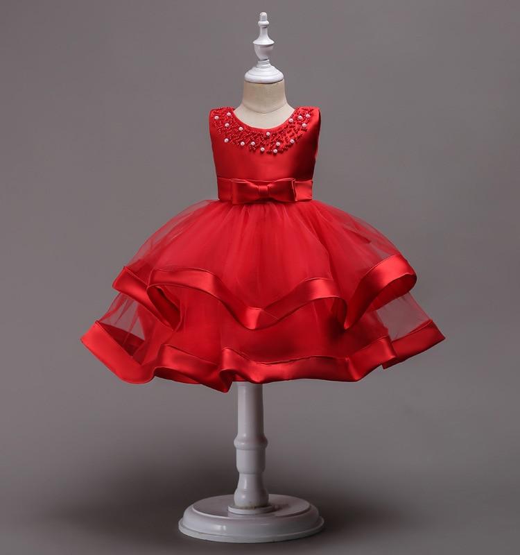 Brand Quality Baby Girls Princess Dress for Kids Beading Layered Party Flower Girls Dress for 3-8 Years Children Formal Vestidos 1