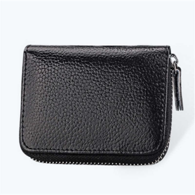 Nuevo diseño de alta calidad de cuero tarjeta de crédito ID soportes bolsos hombres mujeres Unisex Color sólido cremallera monedero carteras 3015