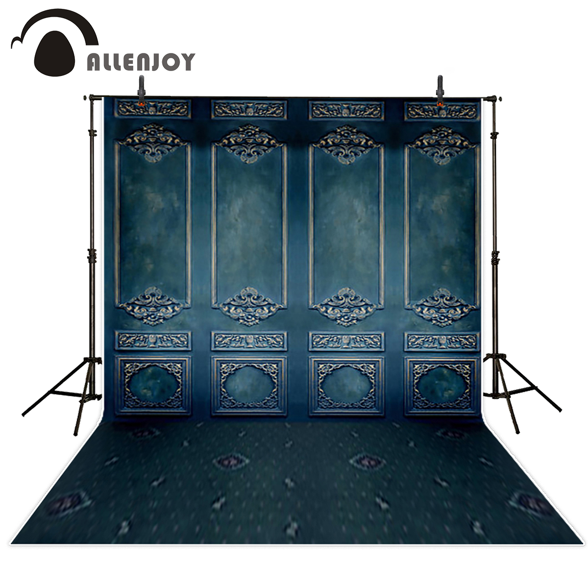 Allenjoy moody blue wood wall vintage photography backdrop carving pattern classic background photo studio photoshoot props