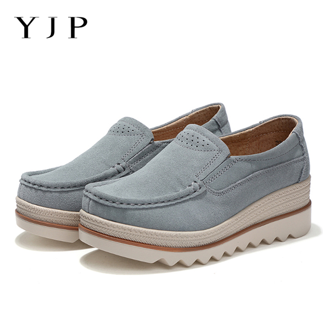 ad5ba4b40a YJP Suede Leather Women Shoes Creepers Platform Sneakers Breathable Round  Toe Slip On Retro Women Casual Shoes Spring Summer New-in Women's Vulcanize  ...