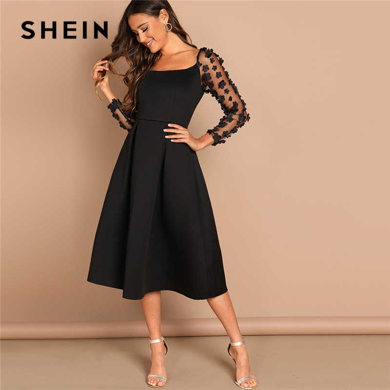 SHEIN Night Out Contrast Mesh Appliques Pleated Square Neck Knee Length Dress Autumn Modern Lady Workwear Women Dresses
