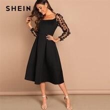 SHEIN Nacht Heraus Kontrast Mesh Appliques Plissee Square Neck Knielangen Kleid Herbst Moderne Dame Arbeitskleidung Frauen Kleider
