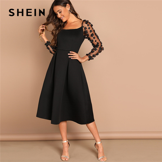 7127fdcf7216 SHEIN Night Out Black Contrast Mesh Appliques Pleated Square Neck Knee  Length Dress Autumn Modern Lady Workwear Women Dresses