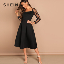 SHEIN Night Out Black Contrast Mesh Appliques Pleated Square Neck Knee Length Dress Autumn Modern Lady Workwear Women Dresses