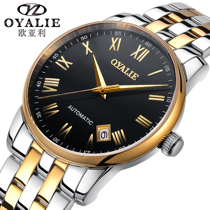 Montre Homme OYALIE Full Calendar Automatic Mechanical Watches Top Brand Luxury Wrist Watch Stainless Steel Men's Clock forsining full calendar tourbillon auto mechanical mens watches top brand luxury wrist watch men erkek kol saati montre homme