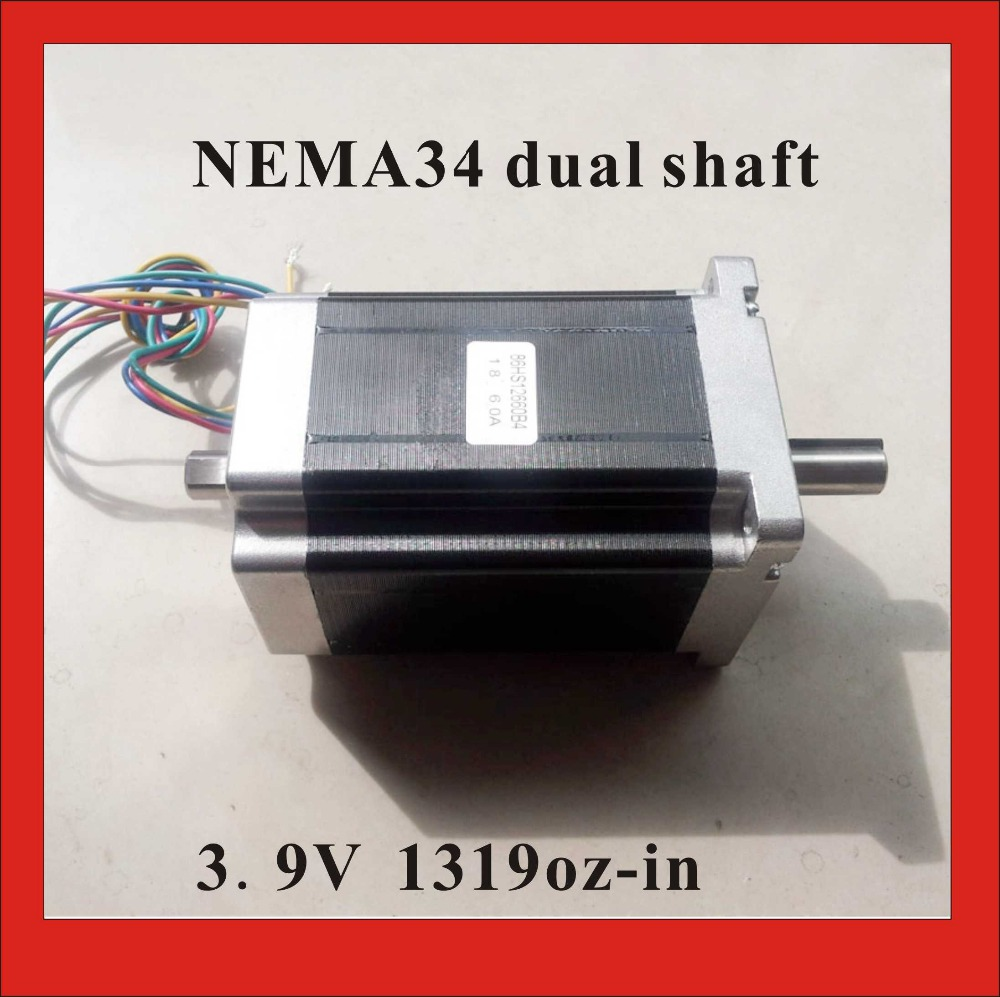 NEMA 34 Dual Shaft Stepper Motor 9.5 N.m (1319 oz-in) 6A Body Length 126 mm CE ROHS Nema 34 Stepper Motor 4axis nema 34 1230oz in 5 0a stepper motor