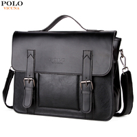 VICUNA POLO Promotion Brand Cover Open Mens Leather Handbag Vintage Casual Messenger Bag Men Leather Laptop