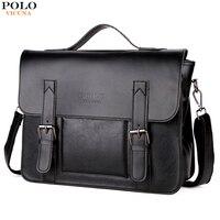 VICUNA POLO Promotion Brand Cover Open Mens Leather Handbag Vintage Casual Messenger Bag Men Leather Laptop Bags bolsa masculina
