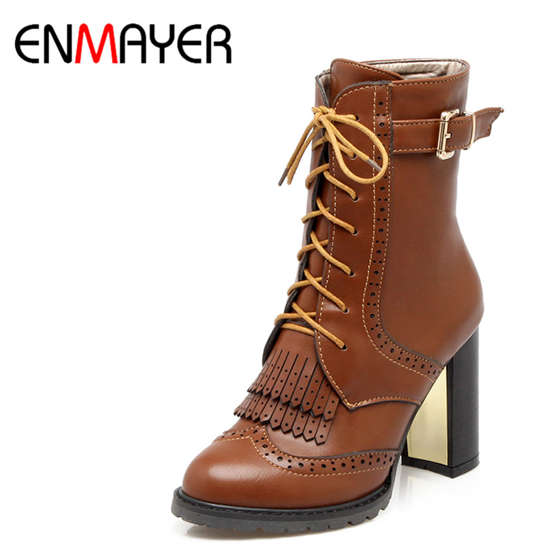 ФОТО ENMAYER Fashion Tassel Lace-up Ankle Boots Women Buckle High Heels Boots British Style Carved Short Boots Cool Gril Shoes Woman