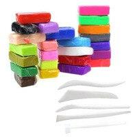 5 pack 5 + Herramientas 32 Colores de Moldeo Bloque de Arcilla del Polímero de Fimo Modelado DIY Juguetes